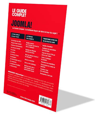 Verso du Livre Joomla! Guide complet - Auteurs : MOSAIQUE Informatique (Alain MATHIEU et Dominique LEROND) - Nancy - 54
